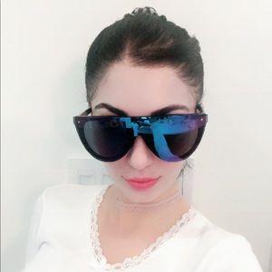 Phillip Lim FlatTop Aviator Sunglasses Mirror Blue